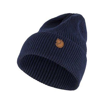 fjallraven ziemine kepure directional rib knit hat navy